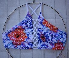 L*SPACE SWIM KALEIDOSCOPE DREAMS NIKKI HIGH NECK LACE UP BIKINI TOP (XS) NWT $90
