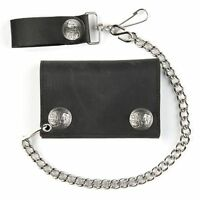 Biker Chain Wallet Buffalo Nickel Snaps Trifold Black Leather Trucker USA Made