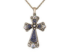Enamel Painted Celtic Cross Crystal Pendant Necklace Unique Jewelry For Women