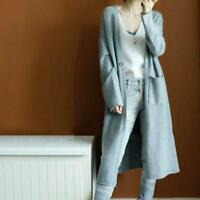 Women's Autumn Cashmere Cardigan Long Sweater With Pockets Loose Coat S-XXL