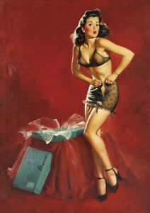 Retro Gil Elvgren Pinup Girl A4 size 21x29.7cm Canvas Art Print Poster Unframed