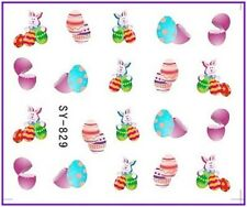 Nail Art Water Decals Stickers Transfers Easter Bunny Rabbit Eggs Chicken (829)