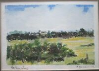 Small Original  Watercolour Painting of Wortham Ling  Suffolk by P. Denham 1993