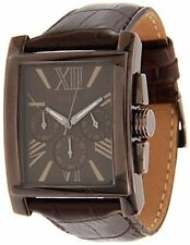 GUESS BROWN CROCODILE LEATHER BAND,BROWN RECTANGLE DIAL,ROMAN #'S WATCH  U0010G3