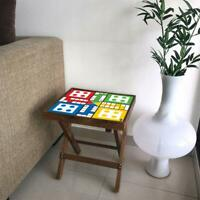 Wood Ludo Game End Side Table Furniture Home Decor (Playing Pieces Added)