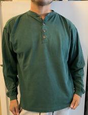 Vtg 80s 90s Banana Republic Vtg Style Cotton Henley Green Long Sleeve Shirt (s/m