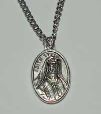 """St Edith Stein Holy Medal on 24"""" Chain Converted Jews, Martyrs, World Youth Day"""