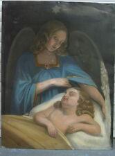Ange avec Garçon Signé Benjamin West Peinture à L' Huile sur Tôle Signé Baroque