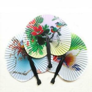 Paper Chinese Oriental Folding hand held fan.Wedding Hen favors Party night X2T9