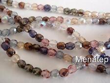 25 6mm Czech Glass Firepolish Beads: Luster Mix