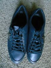 NEW VERSACE NAVY LEATHER ATHLETIC SHOES HALF MEDUSA HEAD LOGO SIZE US 10.5