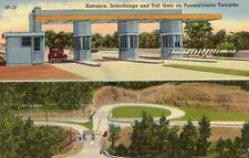 Entrance, Interchange Toll Gate Pennsylvania PA Turnpike Linen Postcard