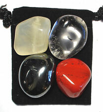 LEGAL LUCK Tumbled Crystal Healing Set = 4 Stones + Pouch + Description Card
