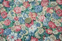 Vintage 90s Packed Floral Cotton Quilt Fabric Cottage Country Remnant Craft Rose