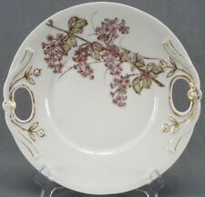 Bawo & Dotter Limoges Hand Colored Grey & Pink Floral Cake Plate Circa 1880s