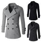 Warm Coat Double Breasted Peacoat Long Men Jacket Winter Outerwear Dress Top