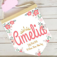 HANGING PENDANT NAME FLAG PRINT Nursery Decor Personalised Baby Girl Floral