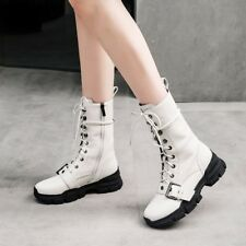 Women Gladiator Creepers Lace Up Buckle Round Toe Roman Solid Mid Calf Boots US8