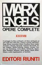 MARX ENGELS OPERE COMPLETE  XXXVIII CARTEGGIO 1844-1851 EDITORI RIUNITI 1972