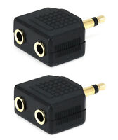 2x Mono 3.5mm 1 Male Plug to 2 Stereo Female Jack Audio Y Splitter Cable Adapter