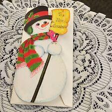 Vintage Greeting Card Christmas Snowman Cousin Bird