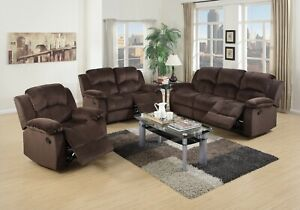 3 Pc Family Motion Sofa Set Chocolate Plush Leather Living Room Furniture Fabric