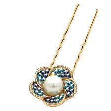 Oro Scuro & Azzurro Perla Fiore Per Capelli PIN ACCESSORI DECORAZIONE TESTA ha222