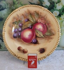 """AYNSLEY  """"ORCHARD GOLD"""" CABINET PLATE SIGNED D.JONES"""