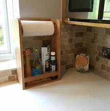 Bamboo Kitchen Paper Towel Holder Spice Rack