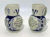 Set of 2 Stoneware Wine Pitchers GERMANY 2956 Fein Schmeckt Stein