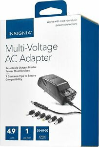 Insignia 15.6W Universal 12V AC Adapter Variable Multi Voltage Barrel Pin Tips