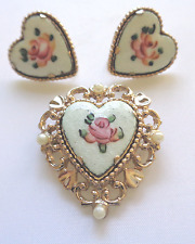 Vintage 1950s Coro Guilloche Rose Heart Faux Pearls Brooch & Screw-Back Earrings
