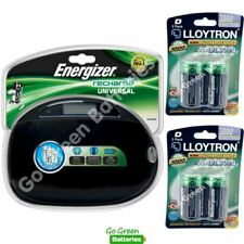 Energizer Universal Charger + 4 D Size 3000 mAh LLoytron Batteries AA AAA C D 9V