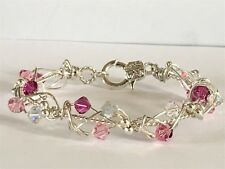 "LOVELY 7"" MEDIUM SIZED SILVER BRACELET WITH PINK/CLEAR AB SWAROVSKI ELEMENTS"