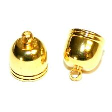 M5208f Bright Gold 10mm Round Bell Cap Glue-In Cord End with Loop 24/pkg