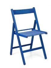 4 sedia pieghevole in legno di faggio colore blu pieghevole