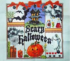 """New Finished Cross Stitch Needlepoint""""HAPPY HALLOWEEN""""Home Wall Decor Gifts"""