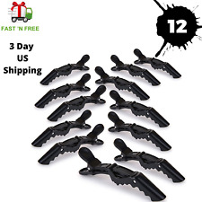 12PCS Salon Croc Hair Styling Clips-Sectioning Alligator Hair Clip Plastic-BLACK