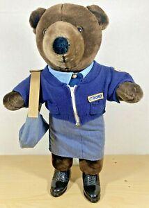 1986 Vintage JJ Wind USPS Patriot Bear Female Letter Carrier with Mail Bag.