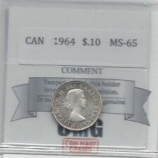 **1964**Coin Mart Graded Canadian, 10 Cent, **MS-65**