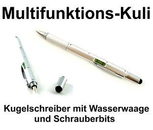 Kugelschreiber Multitool 6in1 Stift Touchpen Lineal Schraubendreher Wasserwaage
