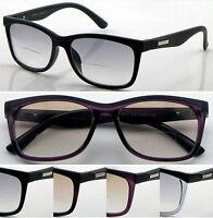 SL427 Retro Light Tinted Bifocal Reading Glasses Matt Eyebrow Trendy Stylish +50