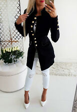 Womens Winter Pocket Gold Button Front Black Military Style Blazer Coat Jacket
