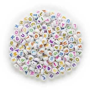 100 Piece Random Mixed Round Alphabets 'A-Z' Letter Beads Acrylic Spacer 7mm