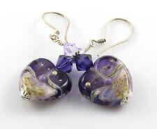 Purple Heart Earrings Violet Lampwork Glass