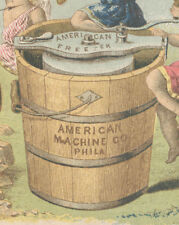 1880's AMERICAN  ICE CREAM FREEZER & ORIG. PRICES TRADE CARD, * ON SALE * TC292
