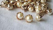 1cm- 7 buttons Beautiful gold single pearl floral fastening for crafts DIY decor