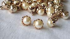 1cm - 7 botones de oro hermoso cierre Floral Perla única para Manualidades Hágalo usted mismo Decoración