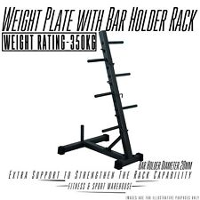 NEW Weight Plate with Bar Holder Storage Rack Tree Fitness Accessories Equipment