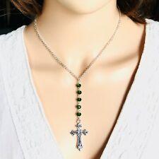 "Classy Cross Pendant Beads 18"" Necklace May Green Birthstone Fashion Jewelry"